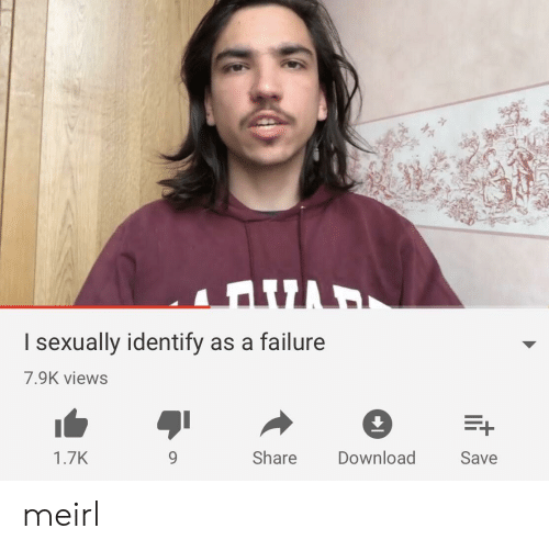 Failure, MeIRL, and Download: I sexually identify as a failure  7.9K views  1.7K  9  Share  Download  Save meirl