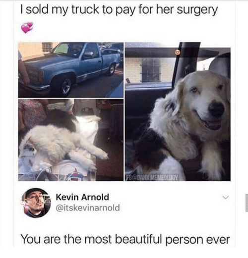 Beautiful, Her, and Arnold: I sold my truck to pay for her surgery  Kevin Arnold  @itskevinarnold  You are the most beautiful person ever