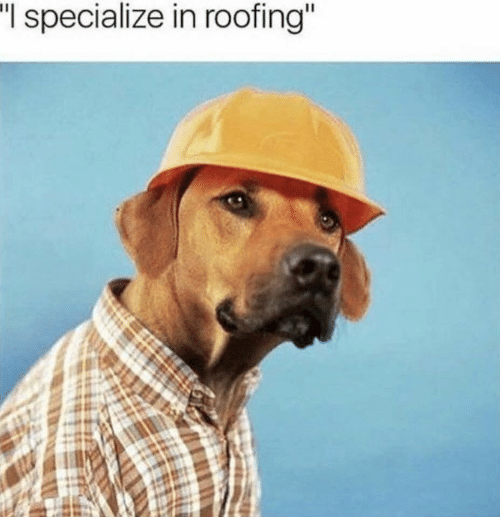 """Roofing, I Specialize in Roofing, and Specialize: """"I  specialize in roofing"""