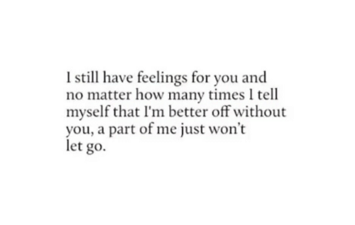 How Many Times, How, and You: I still have feelings for you and  no matter how many times I tell  myself that I'm better off without  you, a part of me just won't  let go.