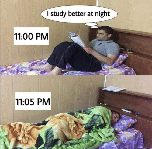 study: I study better at night  11:00 PM  11:05 PM