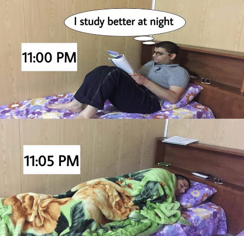 study: I study better at night  11:00 PM  SPA  11:05 PM