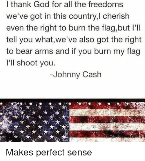Memes, Johnny Cash, and 🤖: I thank God for all the freedoms  we've got in this country,l cherish  even the right to burn the flag,but l'll  tell you what,we've also got the right  to bear arms and if you burn my flag  I'll shoot you.  Johnny Cash Makes perfect sense