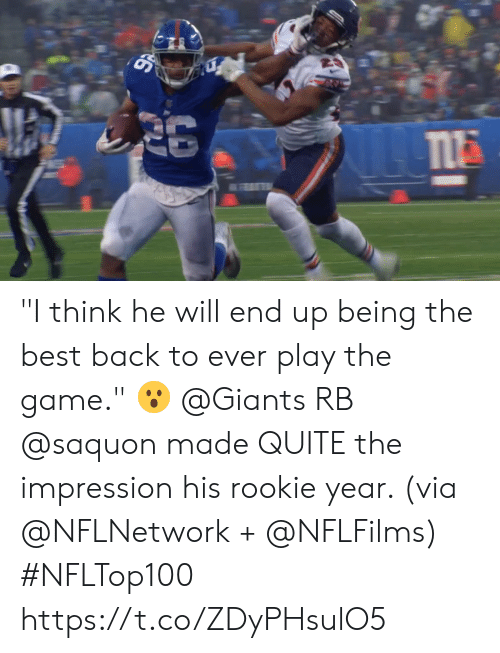 "Memes, The Game, and Best: ""I think he will end up being the best back to ever play the game."" 😮  @Giants RB @saquon made QUITE the impression his rookie year. (via @NFLNetwork + @NFLFilms) #NFLTop100 https://t.co/ZDyPHsulO5"
