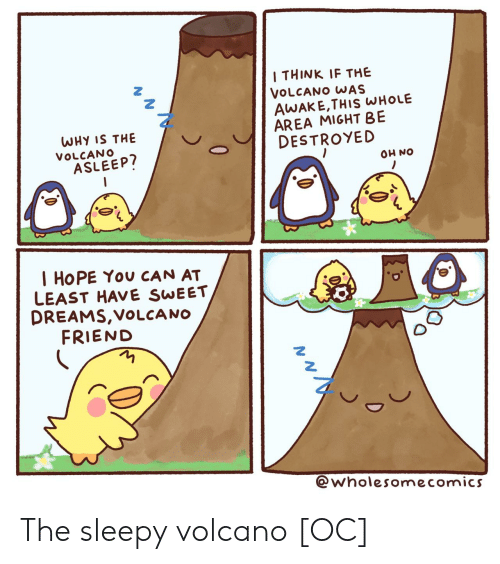 Volcano, Dreams, and Hope: I THINK IF THE  VOLCANO WAS  AWAKE,THIS WHOLE  AREA MIGHT BE  DESTROYED  WHY IS THE  VOLCANO  ASLEEP?  ON HO  I HOPE You CAN AT  LEAST HAVE SWEET  DREAMS,VOLCA NO  FRIEND  @wholesomecomics  0 The sleepy volcano [OC]