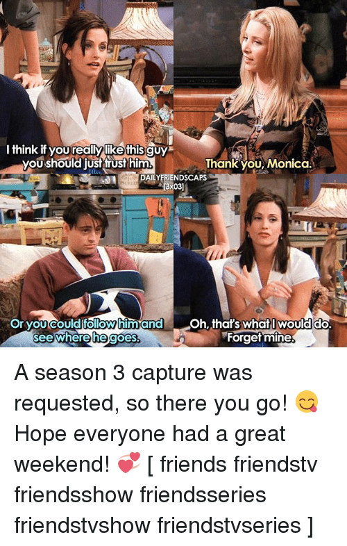 Great Weekend: I think if yourealNylike this guy  you should just trust him  Thank you, Monica.  DAILY FRIENDSCAPS  3x03)  Or you could him and Oh, that's what I would do.  see where he goes  Forget mine A season 3 capture was requested, so there you go! 😋 Hope everyone had a great weekend! 💞 [ friends friendstv friendsshow friendsseries friendstvshow friendstvseries ]