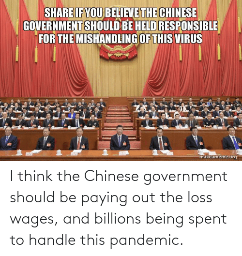 Billions: I think the Chinese government should be paying out the loss wages, and billions being spent to handle this pandemic.