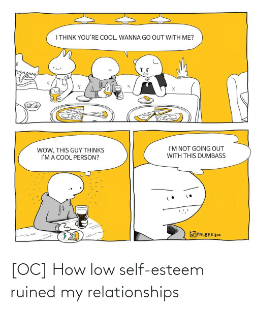 Im Not: I THINK YOU'RE COOL. WANNA GO OUT WITH ME?  I'M NOT GOING OUT  WOW, THIS GUY THỊNKS  I'MA COOL PERSON?  WITH THIS DUMBASS  O PALBEK 800 [OC] How low self-esteem ruined my relationships