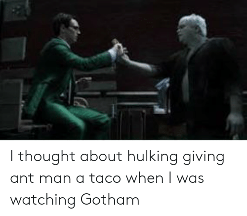 hulking: I thought about hulking giving ant man a taco when I was watching Gotham