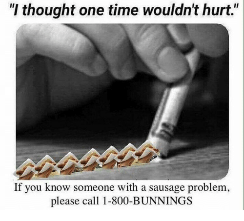 "Memes, Time, and Thought: ""I thought one time wouldn't hurt.""  If you know someone with a sausage problem  please call 1-800-BUNNINGS"