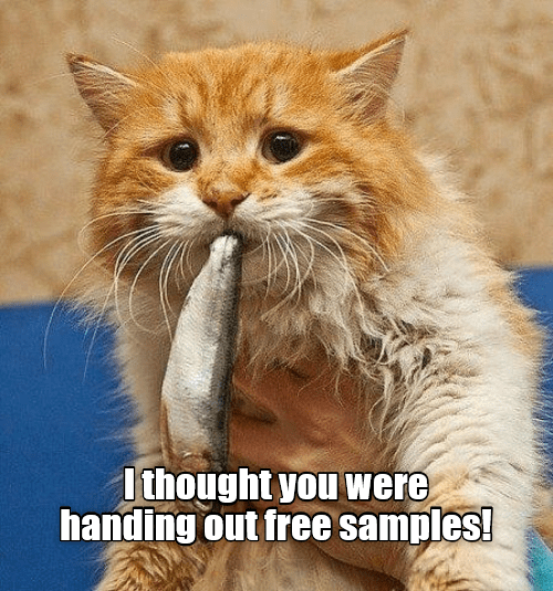 Samples: I thought you were  handing out free samples!