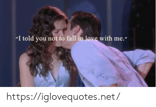 "Fall, Love, and Net: ""I told you not to fall in love with me."" https://iglovequotes.net/"