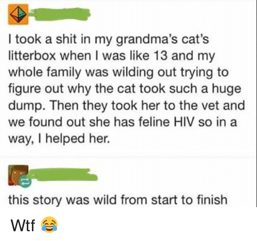 Vetted: I took a shit in my grandma's cat's  litterbox when I was like 13 and my  whole family was wilding out trying to  figure out why the cat took such a huge  dump. Then they took her to the vet and  we found out she has feline HIV so in a  way, I helped her.  this story was wild from start to finish Wtf 😂