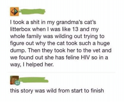Cats, Dank, and Family: I took a shit in my grandma's cat's  litterbox when I was like 13 and my  whole family was wilding out trying to  figure out why the cat took such a huge  dump. Then they took her to the vet and  we found out she has feline HIV so in a  way, I helped her.  this story was wild from start to finish