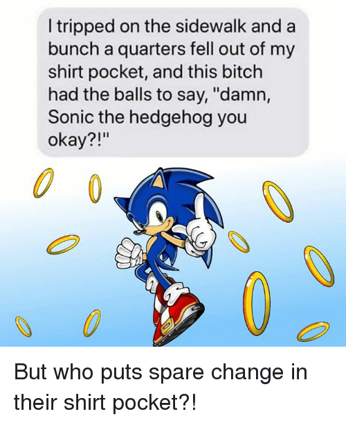 "Bitch, Dank, and Sonic the Hedgehog: I tripped on the sidewalk and a  bunch a quarters fell out of my  shirt pocket, and this bitch  had the balls to say, ""damn,  Sonic the hedgehog you  okay?!""  0 But who puts spare change in their shirt pocket?!"