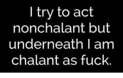 Memes, 🤖, and Nonchalantly: I try to act  nonchalant but  underneath I am  chalant as fuck