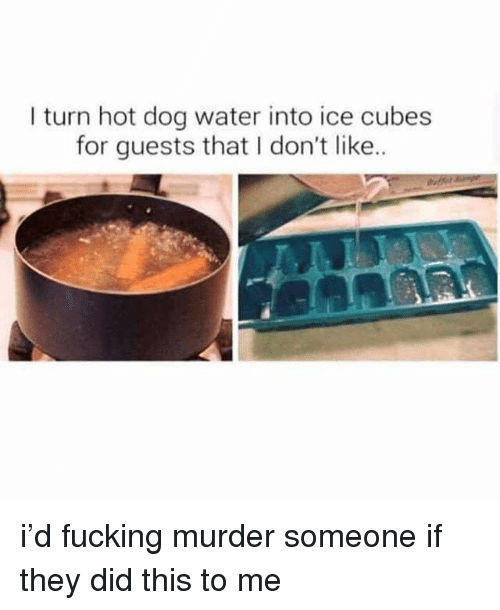 Fucking, Ironic, and Water: I turn hot dog water into ice cubes  for guests that I don't like.. i'd fucking murder someone if they did this to me