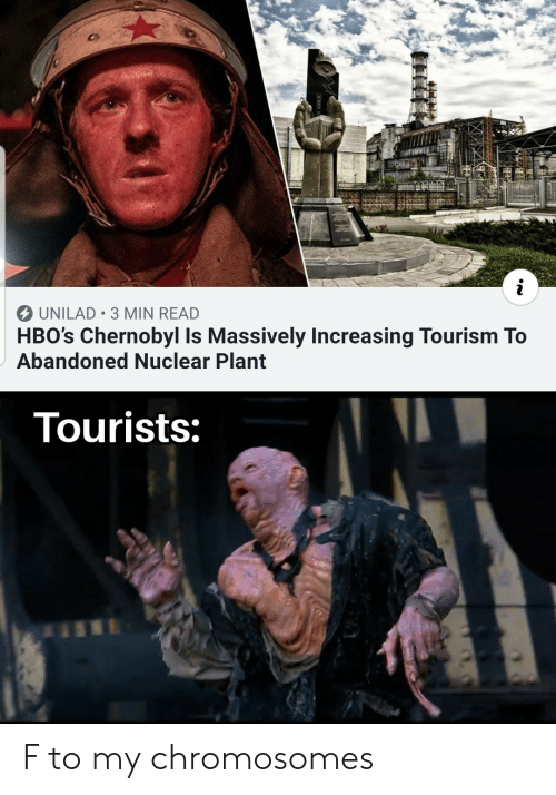Chernobyl, Tourism, and Chromosomes: i  UNILAD 3 MIN READ  HBO's Chernobyl Is Massively Increasing Tourism To  Abandoned Nuclear Plant  Tourists: F to my chromosomes