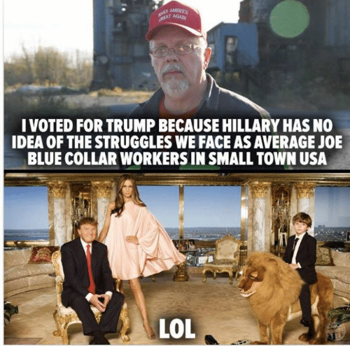 Memes, Struggle, and 🤖: I VOTED FOR TRUMP BECAUSE HILLARY HASNO  IDEA OF THE STRUGGLES WE FACEASAVERAGE JOE  BLUE COLLAR WORKERSIN SMALL TOWN USA  LOL