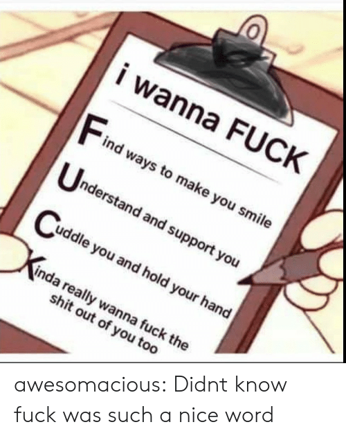 Shit, Tumblr, and Blog: i wanna FUCK  Find weaysto make you smile  nderstand and support you  uddle you and hold your hand  inda really wanna fuck the  shit out of you too awesomacious:  Didnt know fuck was such a nice word