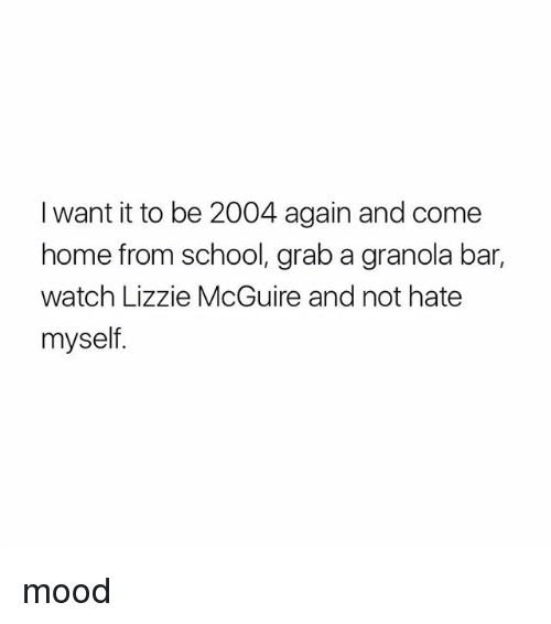 Mood, School, and Home: I want it to be 2004 again and come  home from school, grab a granola bar,  watch Lizzie McGuire and not hate  myself. mood