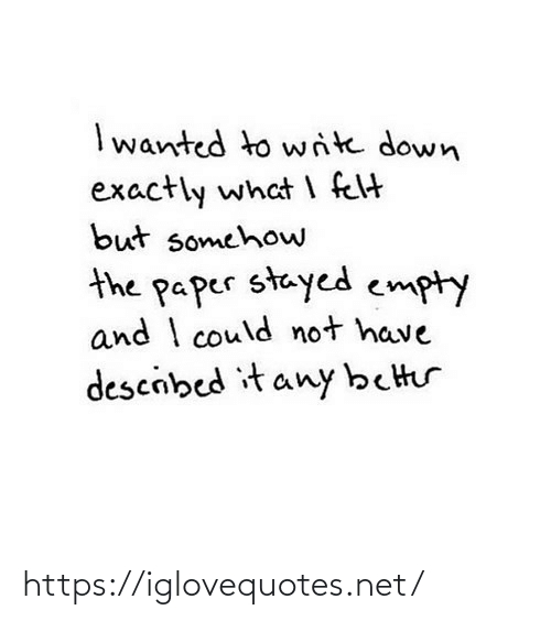 I Could: I wanted to write down  exactly what I felt  but somehow  the paper stayed empty  and I could not have  descibed it any better https://iglovequotes.net/
