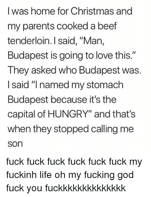 """Beef, Christmas, and Fuck You: I was home for Christmas and  my parents cooked a beef  tenderloin. I said, """"Man,  Budapest is going to love this.""""  They asked who Budapest was.  I said """"I named my stomach  Budapest because it's the  capital of HUNGRY"""" and that's  when they stopped calling me  son fuck fuck fuck fuck fuck fuck my fuckinh life oh my fucking god fuck you fuckkkkkkkkkkkkkk"""