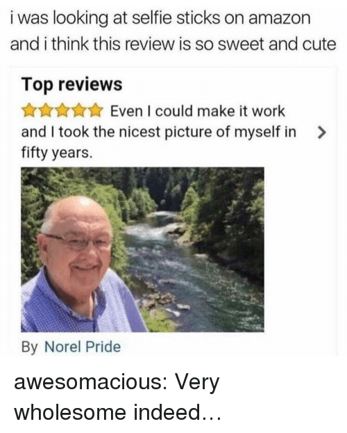 Selfie Sticks: i was looking at selfie sticks on amazon  and i think this review is so sweet and cute  Top reviews  Even I could make it work  and I took the nicest picture of myself in >  fifty years.  By Norel Pride awesomacious:  Very wholesome indeed…