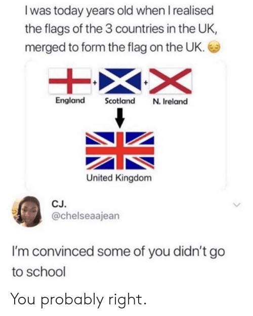 go to school: I was today years old when I realised  the flags of the 3 countries in the UK,  merged to form the flag on the UK.  England Scotland N. Ireland  United Kingdom  CJ  @chelseaajean  I'm convinced some of you didn't go  to school You probably right.