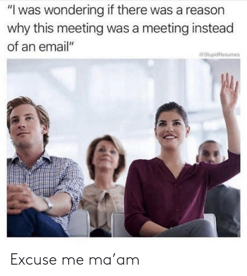 """Email, Reason, and Mø: """"I was wondering if there was a reason  why this meeting was a meeting instead  of an email""""  StupidResumes Excuse me ma'am"""