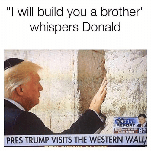 "Memes, Live, and Saudi Arabia: ""I will build you a brother""  whispers Donald  PECIAL  LIVE from RIYADH, DP  SAUDI ARABIA  PRES TRUMP VISITS THE WESTERN WAL"