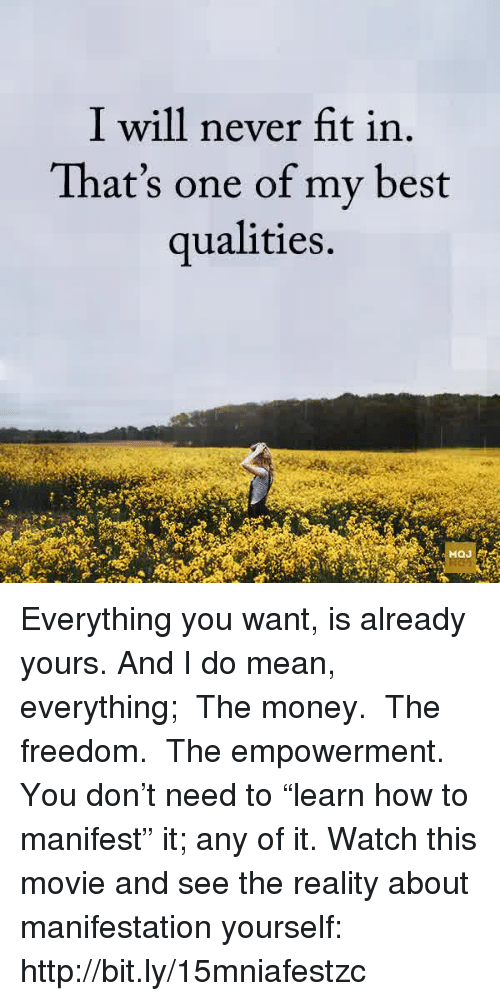 """Memes, Money, and Best: I will never fit in.  That's one of my best  qualities. Everything you want, is already yours. And I do mean, everything; ● The money. ● The freedom. ● The empowerment. You don't need to """"learn how to manifest"""" it; any of it. Watch this movie and see the reality about manifestation yourself: http://bit.ly/15mniafestzc"""