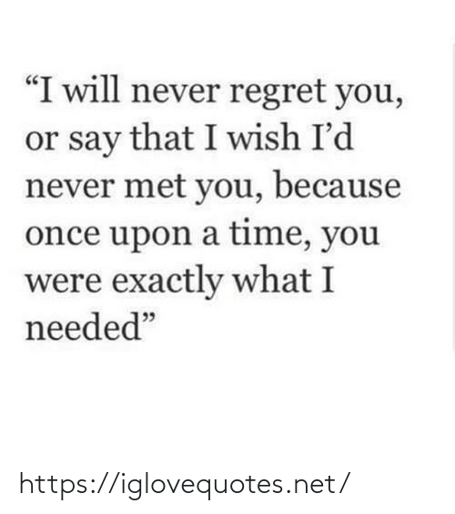 "What I: ""I will never regret you,  or say that I wish I'd  never met you, because  once upon a time, you  were exactly what I  needed"" https://iglovequotes.net/"