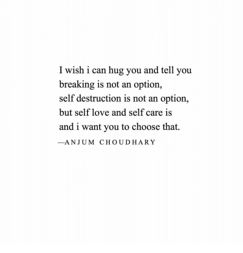 Self Care Is: I wish i can hug you and tell you  breaking is not an option,  self destruction is not an option,  but self love and self care is  and i want you to choose that.  _ANJUM CHOUDHARY