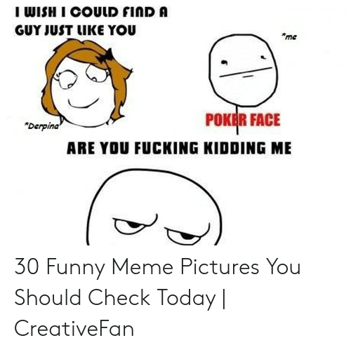 """Fucking, Funny, and Meme: I WISH I COULD FINDA  GUY JUST LIKE YOU  me  POKEİR FACE  """"Derpina  ARE YOU FUCKING KIDDING ME 30 Funny Meme Pictures You Should Check Today   CreativeFan"""
