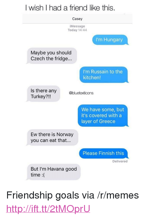 "Goals, Memes, and Good: I wish I had a friend like this.  Casey  iMessage  Today 14:44  I'm Hungary  Maybe you should  Czech the fridge...  I'm Russain to the  kitchen!  Is there any  Turkey?!!  @bluetexticons  We have some, but  it's covered with a  layer of Greece  Ew there is Norway  you can eat that...  Please Finnish this  Delivered  But I'm Havana good  time :( <p>Friendship goals via /r/memes <a href=""http://ift.tt/2tMOprU"">http://ift.tt/2tMOprU</a></p>"