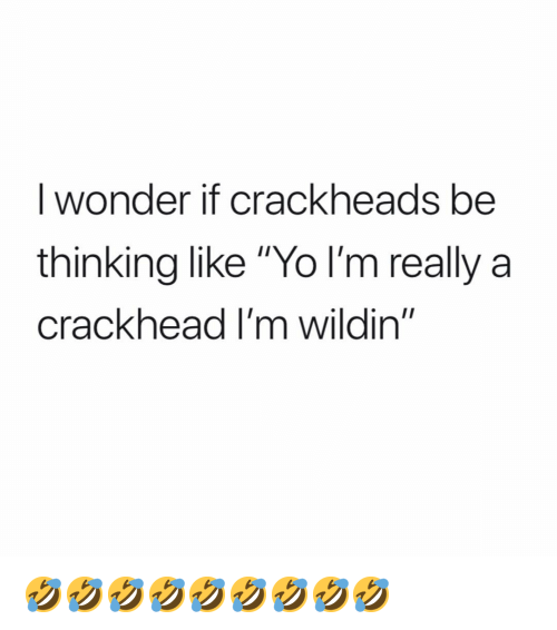 "Crackhead, Memes, and Yo: I wonder if crackheads be  thinking like ""Yo l'm really a  crackhead I'm wildin"" 🤣🤣🤣🤣🤣🤣🤣🤣🤣"