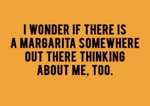 Dank, Wonder, and 🤖: I WONDER IF THERE IS  A MARGARITA SOMEWHERE  OUT THERE THINKING  ABOUT ME, TOO