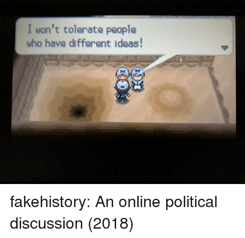 Tumblr, Blog, and Com: I won't tolerate people  who have different ideas! fakehistory:  An online political discussion (2018)