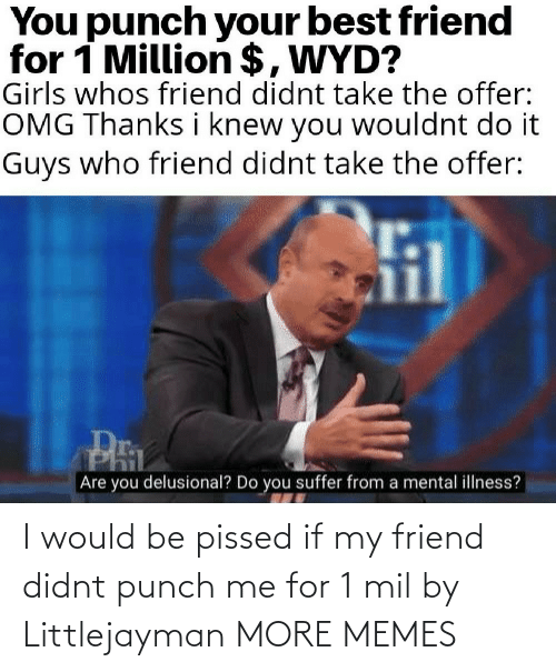 mil: I would be pissed if my friend didnt punch me for 1 mil by Littlejayman MORE MEMES