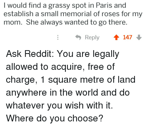 Reddit, Free, and Paris: I would find  establish a small memorial of roses for my  mom. She always wanted to go there.  a grassy spot in Paris and  Reply 147