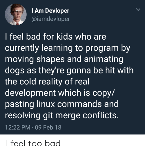 shapes: IAm Devloper  @iamdevloper  I feel bad for kids who are  currently learning to program by  moving shapes and animating  dogs as they're gonna be hit with  the cold reality of real  development which is copy/  pasting linux commands and  resolving git merge conflicts.  12:22 PM 09 Feb 18 I feel too bad