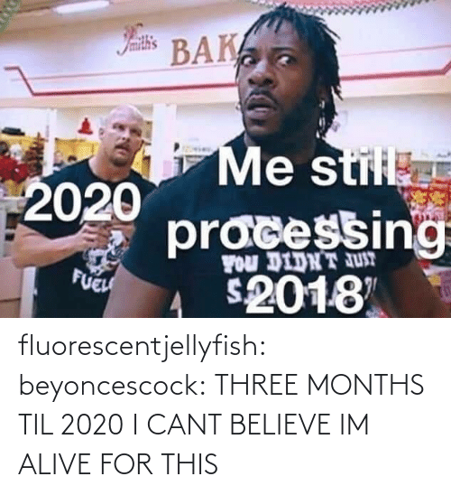 Alive: Iamith's  BAK  Me stil  2020  pracessing  FOu DIDNT JUT  FUEH  2018 fluorescentjellyfish:  beyoncescock: THREE MONTHS TIL 2020 I CANT BELIEVE IM ALIVE FOR THIS