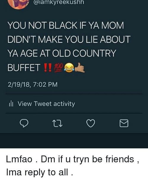 Anaconda, Friends, and Memes: @iamkyreekushh  YOU NOT BLACK IF YA MOM  DIDN'T MAKE YOU LIE ABOUT  YA AGE AT OLD COUNTRY  BUFFET  2/19/18, 7:02 PM  ll View Tweet activity  11 100 Lmfao . Dm if u tryn be friends , Ima reply to all .