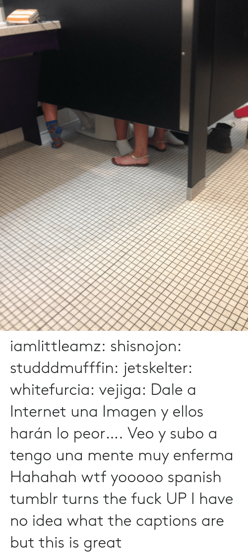 Internet, Spanish, and Tumblr: iamlittleamz:  shisnojon:  studddmufffin:  jetskelter:  whitefurcia:  vejiga:  Dale a Internet una Imagen     y ellos harán lo peor….  Veo y subo a   tengo una mente muy enferma   Hahahah wtf  yooooo spanish tumblr turns the fuck UP   I have no idea what the captions are but this is great