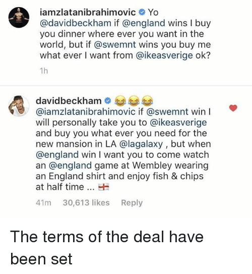 wembley: iamzlatanibrahimovic Yo  avidbeckham if @england wins I buy  you dinner where ever you want in the  world, but if @swemnt wins you buy me  what ever I want from @ikeasverige ok?  1h  davidbeckham  @iamzlatanibrahimovic if @swemnt win I  will personally take you to @ikeasverige  and buy you what ever you need for the  new mansion in LA @lagalaxy , but when  @england win I want you to come watch  an @england game at Wembley wearing  an England shirt and enjoy fish & chips  at half time  41m 30,613 likes Reply The terms of the deal have been set