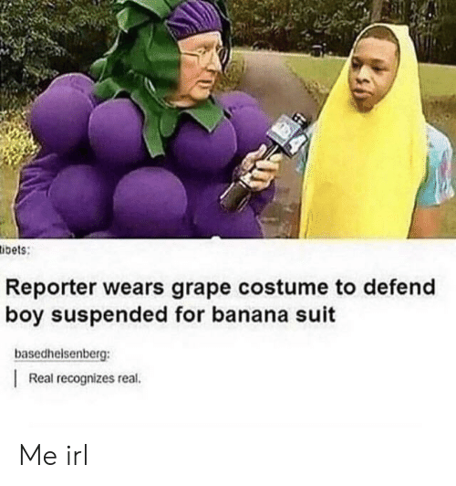 Banana, Irl, and Me IRL: ibets:  Reporter wears grape costume to defend  boy suspended for banana suit  basedhelsenberg:  Real recognizes real. Me irl