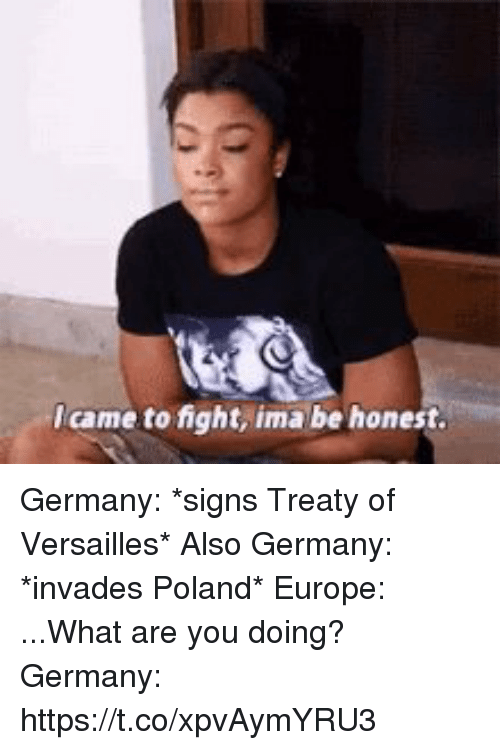 Europe, Germany, and Poland: Icame to fight, ima be honest Germany: *signs Treaty of Versailles*  Also Germany: *invades Poland*  Europe: ...What are you doing?  Germany: https://t.co/xpvAymYRU3