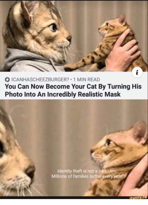 Theft: ICANHASCHEEZBURGER? 1 MIN READ  You Can Now Become Your Cat By Turning His  Photo Into An Incredibly Realistic Mask  Identity theft is not a joke, Jim.  Millions of families suffer every year.  ifunny.co