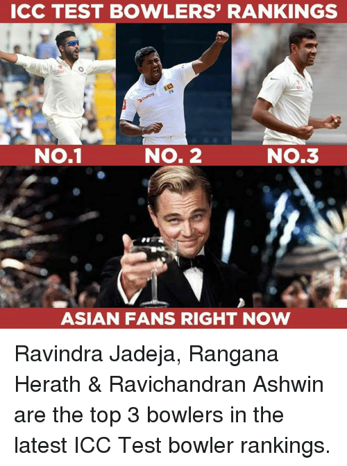 Testes: ICC TEST BOWLERS' RANKINGS  NO.1  No.1  NO. 2  NO.3  ASIAN FANS RIGHT NOW Ravindra Jadeja, Rangana Herath & Ravichandran Ashwin are the top 3 bowlers in the latest ICC Test bowler rankings.